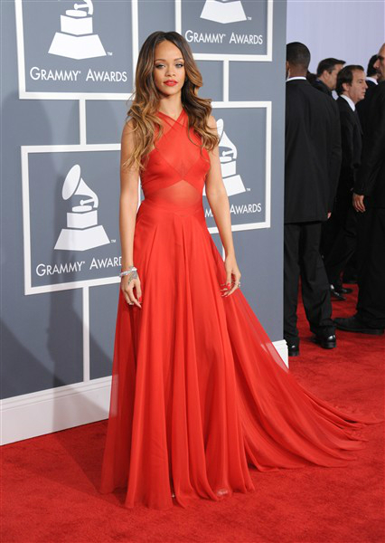 rihanna red dress